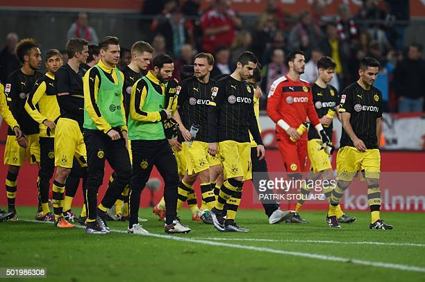 Dortmund players react after the German first division Bundesliga football match 1 FC Cologne vs Borussia Dortmund in Cologne western Germany on...