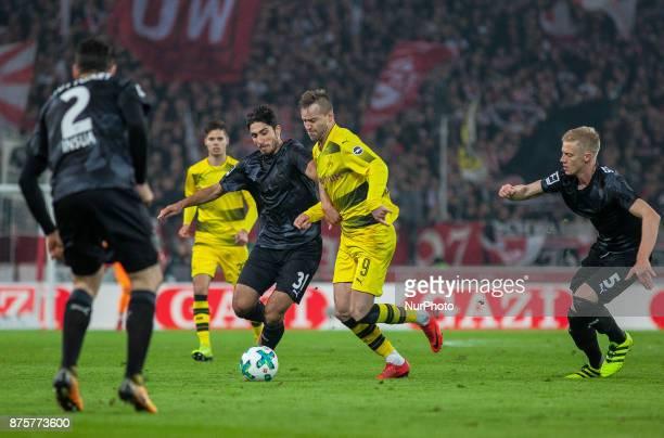 Dortmunds Andrej Yarmolenko in a duel with Stuttgarts Berkay Ozcan during the Bundesliga match between VfB Stuttgart and Borussia Dortmund at...