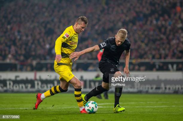 Dortmunds Andrej Yarmolenko in a duel with Stuttgarts Timo Baumgartl during the Bundesliga match between VfB Stuttgart and Borussia Dortmund at...