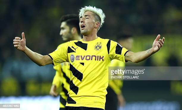 Dortmund's Austrian midfielder Kevin Kampl reacts during the German first division Bundesliga football match Borussia Dortmund v 1 FSV Mainz 05 in...