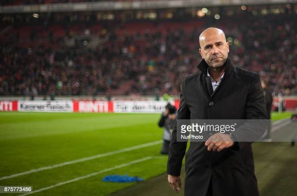 Dortmunds coach Peter Bosz before the kickoff during the Bundesliga match between VfB Stuttgart and Borussia Dortmund at MercedesBenz Arena on...