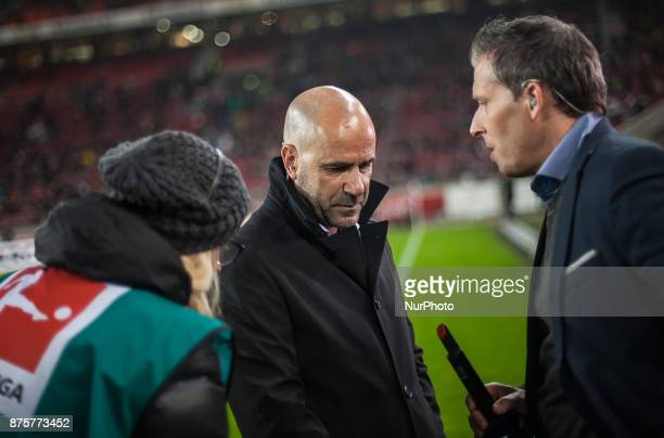 Dortmunds coach Peter Bosz gives an interview before the kickoff during the Bundesliga match between VfB Stuttgart and Borussia Dortmund at...