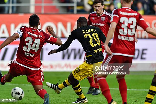 Dortmund's Columbian striker Adrian Ramos scores during the German first division Bundesliga football match between FC Ingolstadt 04 and Borussia...