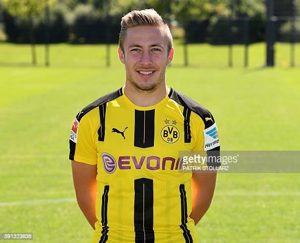 Dortmund's defender Felix Passlack poses during the team presentation of Borussia Dortmund on August 17 2016 in Dortmund western Germany / AFP /...