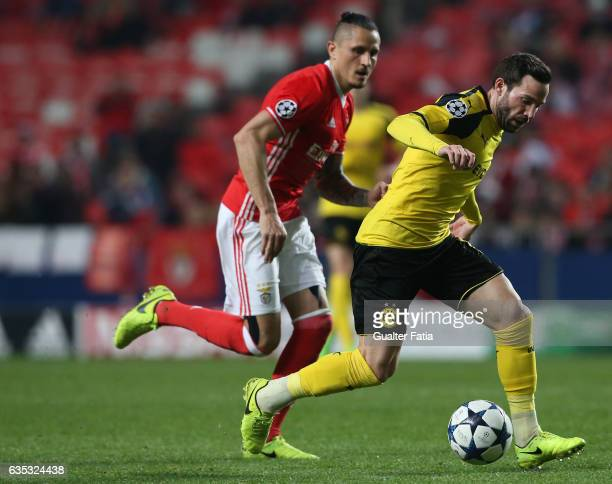 Dortmund's defender Gonzalo Castro from Germany with SL Benfica's midfielder from Serbia Ljubomir Fejsa in action during the UEFA Champions League...