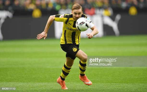 Dortmund's defender Marcel Schmelzer during the German First division Bundesliga football match Borussia Dortmund vs VfL Wolfsburg in Dortmund on...