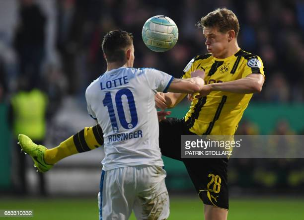 Dortmund's defender Matthias Ginter and Lotte´s Bernd Rosinger vie for the ball during the German Cup DFB Pokal quarterfinal football match...