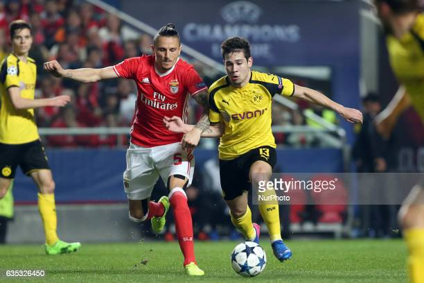 Dortmund's defender Raphael Guerreiro fights for the ball with Benfica's midfielder Ljubomir Fejsa during the UEFA Champions League round of 16 first...