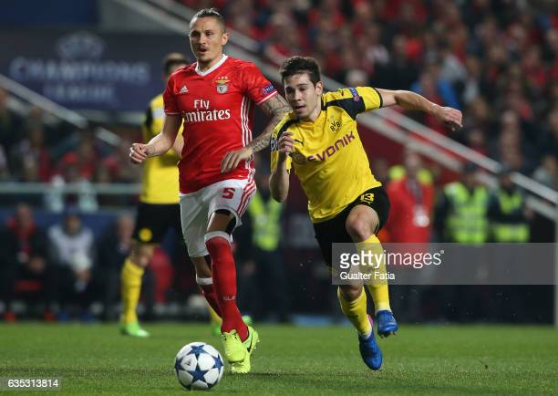 Dortmund's defender Raphael Guerreiro from Portugal with SL Benfica's midfielder from Serbia Ljubomir Fejsa in action during the UEFA Champions...