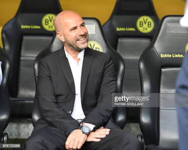 Dortmund's Dutch head coach Peter Bosz is pictured prior to the German Supercup football match final between Borussia Dortmund vs Bayern Munich in...