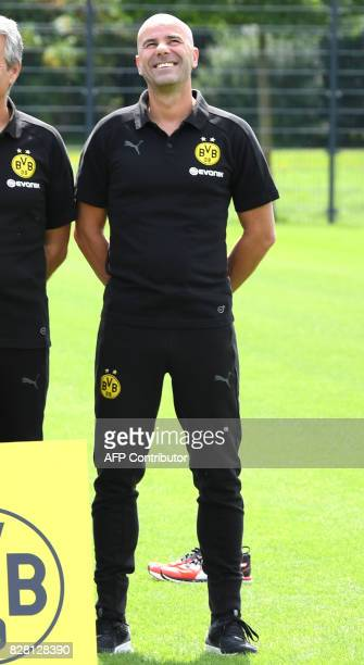 Dortmund's Dutch head coach Peter Bosz poses for a team photo of German first division Bundesliga football club Borussia Dortmund on August 9 2017 in...