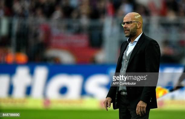 Dortmund's Dutch head coach Peter Bosz reacts during the German first division Bundesliga football match Borussia Dortmund v FC Cologne in Dortmund...