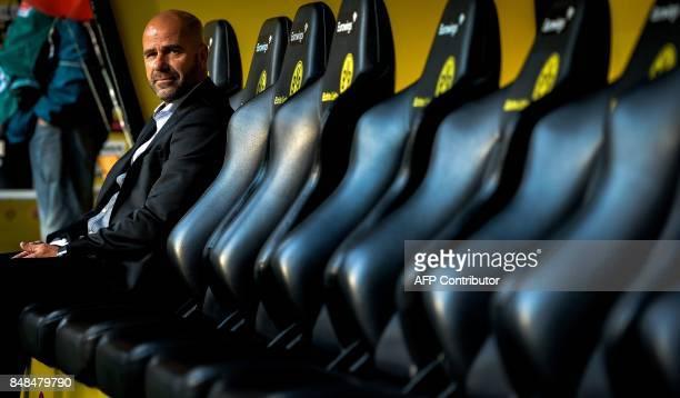 Dortmund's Dutch head coach Peter Bosz sits on the bench prior to the German first division Bundesliga football match Borussia Dortmund v FC Cologne...