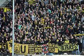 Dortmund's fans cheer during the UEFA Europa League group C football match between PAOK FC and Borussia Dortmund at the Stadio Toumba in Thessaloniki...