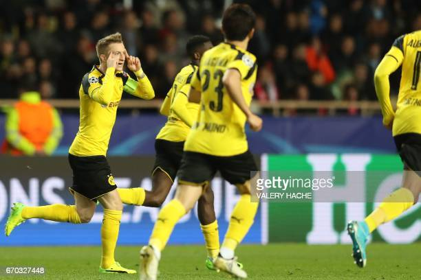 Dortmund's forward Marco Reus celebrates after scoring a goal during the UEFA Champions League 2nd leg quarterfinal football match AS Monaco v BVB...