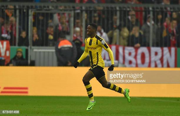 Dortmund's French midfielder Ousmane Dembele celebrate after the second goal for Dortmund during the German Cup DFB Pokal semifinal football match...