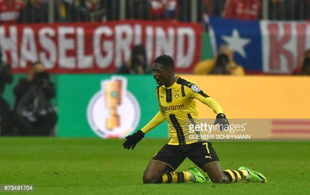Dortmund's French midfielder Ousmane Dembele celebrates after the second goal for Dortmund during the German Cup DFB Pokal semifinal football match...