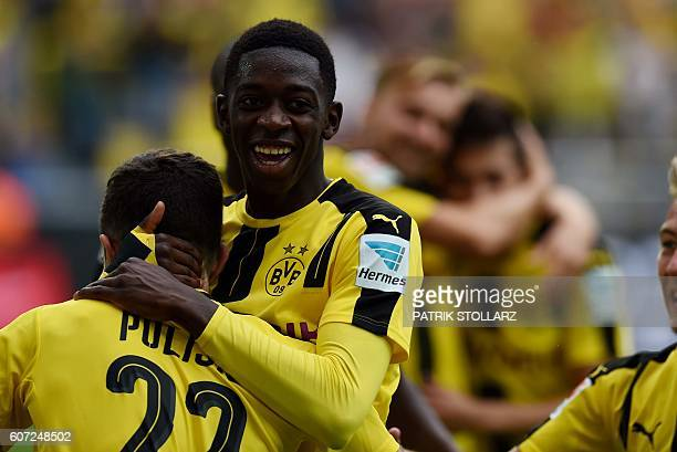 Dortmund's French midfielder Ousmane Dembele celebrates during the German first division Bundesliga football match of Borussia Dortmund vs SV...