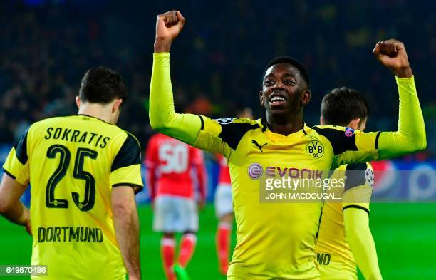 Dortmund's French midfielder Ousmane Dembele celebrates the 30 goal during the UEFA Champions League Round of 16 2ndleg football match Borussia...