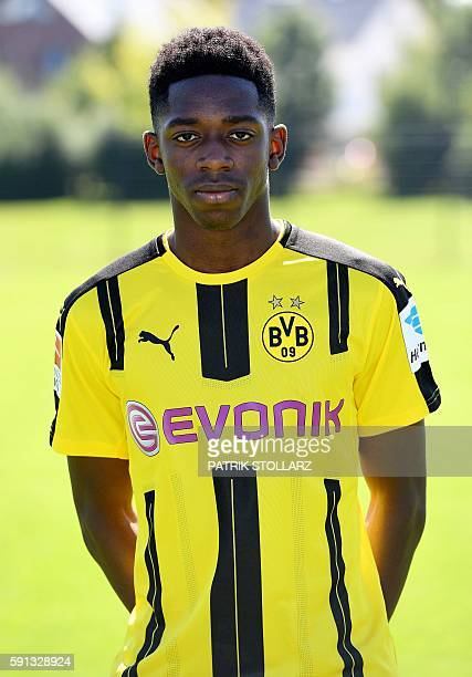 Dortmund's French midfielder Ousmane Dembele poses during the team presentation of Borussia Dortmund on August 17 2016 in Dortmund western Germany /...