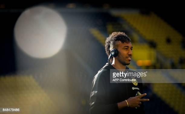 Dortmund's Gabonese forward PierreEmerick Aubameyang arrives for the German first division Bundesliga football match Borussia Dortmund v FC Cologne...