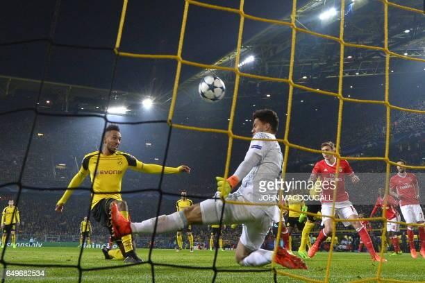Dortmund's Gabonese forward PierreEmerick Aubameyang fails to score past Benfica's Brazilian goalkeeper Ederson Moraes during the UEFA Champions...