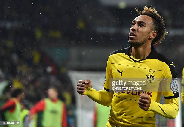 Dortmund's Gabonese striker PierreEmerick Aubameyang celebrates after his goal during the German Cup DFB Pokal third round match between Borussia...