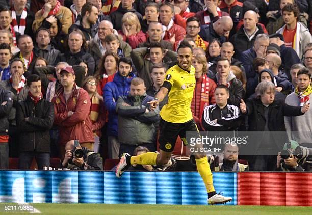 Dortmund's Gabonese striker PierreEmerick Aubameyang celebrates after scoring during the UEFA Europa league quarterfinal second leg football match...