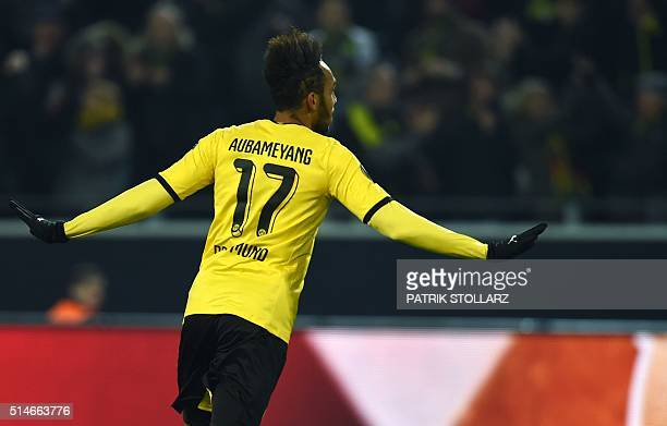 Dortmund's Gabonese striker PierreEmerick Aubameyang celebrates scoring during the UEFA Europe League Round of 16 first leg football match between...