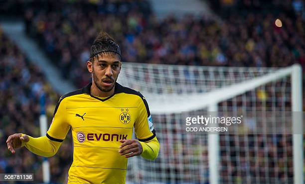 Dortmund's Gabonese striker PierreEmerick Aubameyang is seen during the German first division Bundesliga football match Hertha Berlin v Borussia...