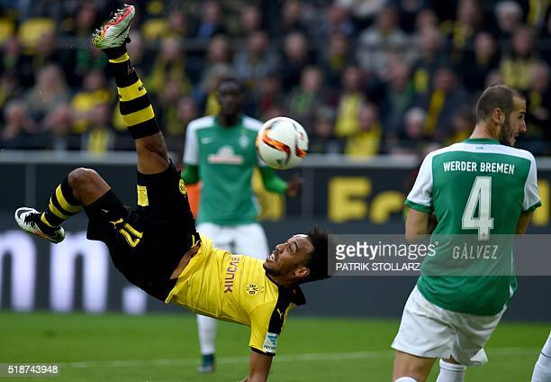 Dortmund's Gabonese striker PierreEmerick Aubameyang plays the ball during the German Bundesliga first division football match between Borussia...