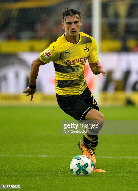 Dortmund's German forward Maximilian Philipp plays the ball during the German first division Bundesliga football match Borussia Dortmund v FC Cologne...