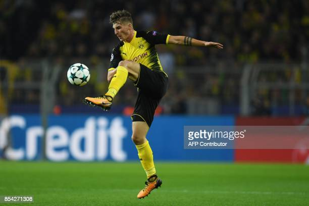 Dortmund's German forward Maximilian Philipp plays the ball during the UEFA Champions League Group H football match BVB Borussia Dortmund v Real...