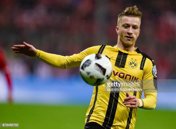 Dortmund's German striker Marco Reus in action during the German Cup DFB Pokal semifinal football match between FC Bayern Munich and BVB Borussia...