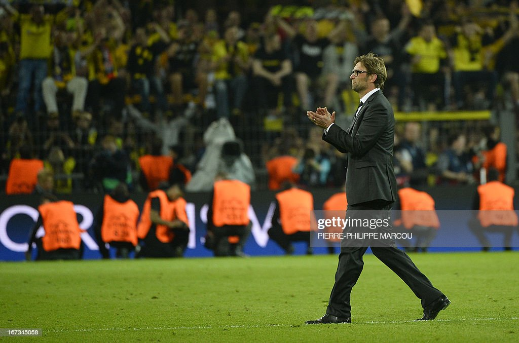 Dortmund's head coach Juergen Klopp celebrates after the UEFA Champions League semi final first leg football match Borussia Dortmund vs Real Madrid on April 24, 2013 in Dortmund, western Germany.