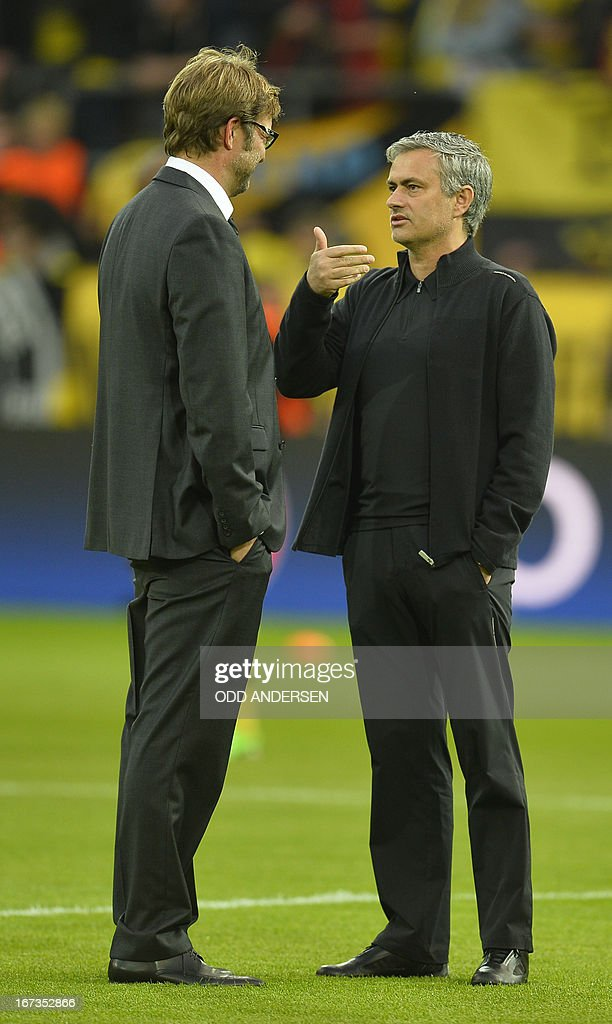 Dortmund's head coach Juergen Klopp chats with Real Madrid's Portuguese coach Jose Mourinho before the UEFA Champions League semi final first leg football match between Borussia Dortmund and Real Madrid on April 24, 2013 in Dortmund, western Germany.