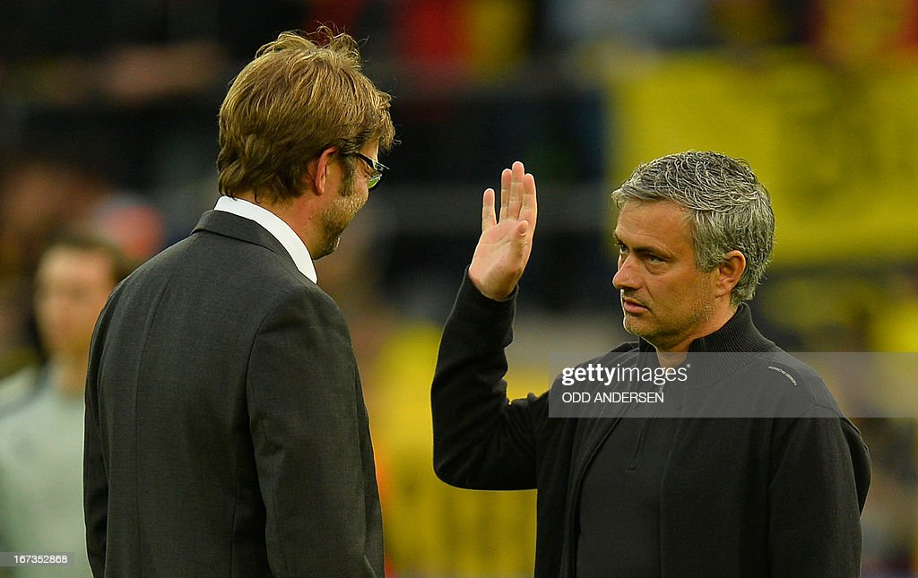 Dortmund's head coach Juergen Klopp chats with Real Madrid's Portuguese coach Jose Mourinho (R) before the UEFA Champions League semi final first leg football match between Borussia Dortmund and Real Madrid on April 24, 2013 in Dortmund, western Germany.