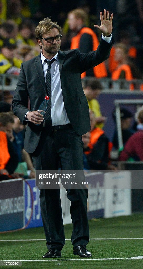 Dortmund's head coach Juergen Klopp gestures during the UEFA Champions League semi final first leg football match Borussia Dortmund vs Real Madrid on April 24, 2013 in Dortmund, western Germany.