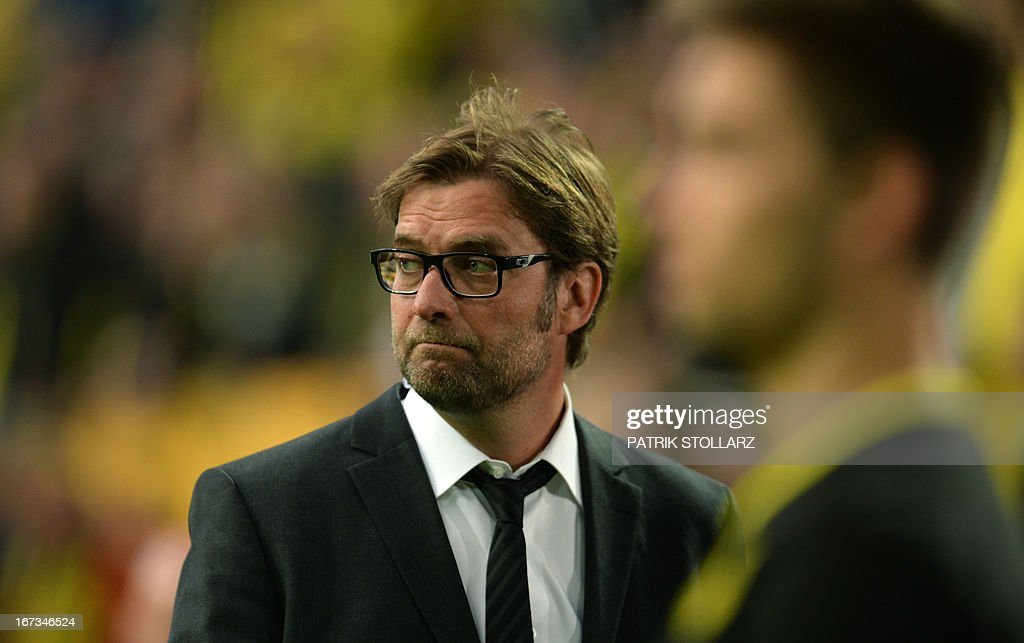 Dortmund's head coach Juergen Klopp is pictured prior to the UEFA Champions League semi final first leg football match between Borussia Dortmund and Real Madrid on April 24, 2013 in Dortmund, western Germany. Dortmund won the match 4-1.