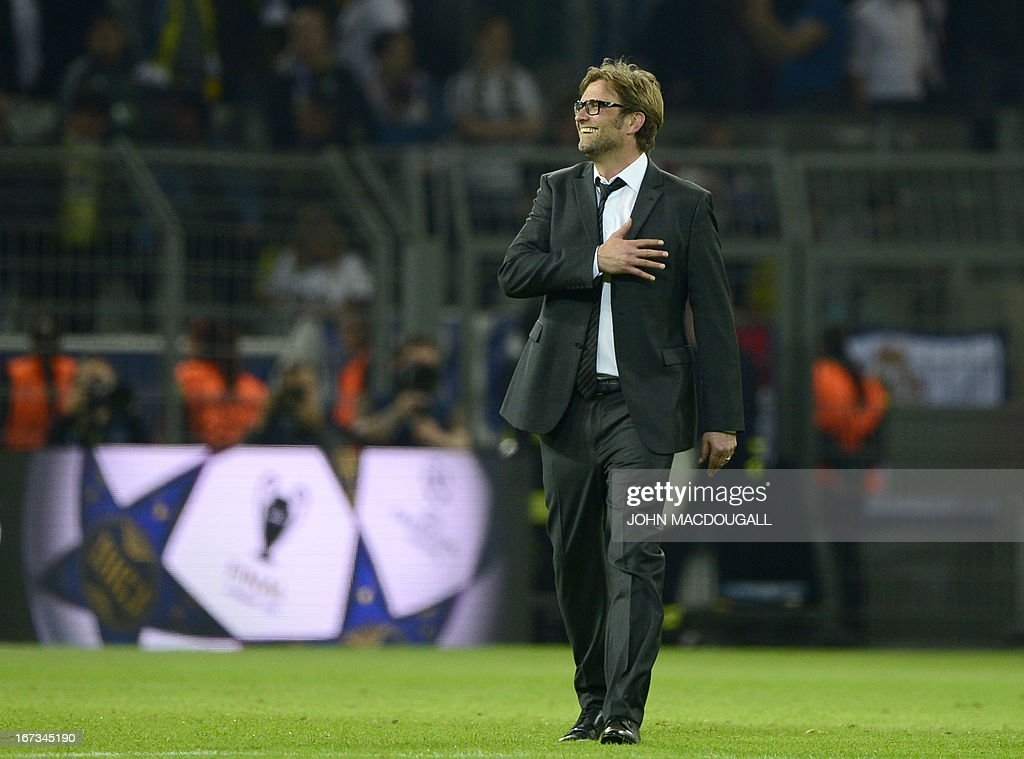 Dortmund's head coach Juergen Klopp reacts after the UEFA Champions League semi final first leg football match between Borussia Dortmund and Real Madrid on April 24, 2013 in Dortmund, western Germany. Dortmund won the match 4-1.
