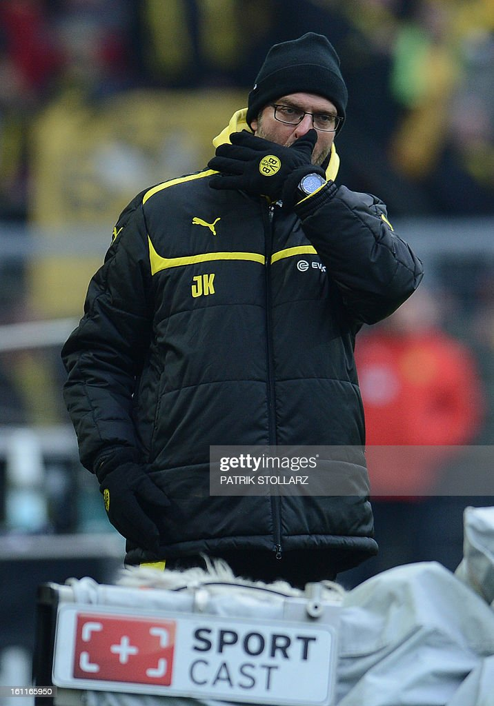 Dortmund's head coach Juergen Klopp reacts during the German first division Bundesliga football match Borussia Dortmund vs Hamburger SV in Dortmund, western Germany, on February 9, 2013. Hamburg won 1-4.