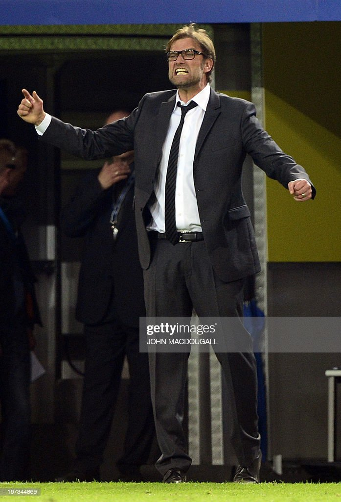 Dortmund's head coach Juergen Klopp reacts during the UEFA Champions League semi final first leg football match between Borussia Dortmund and Real Madrid on April 24, 2013 in Dortmund, western Germany. AFP PHOTO / JOHN MACDOUGALL