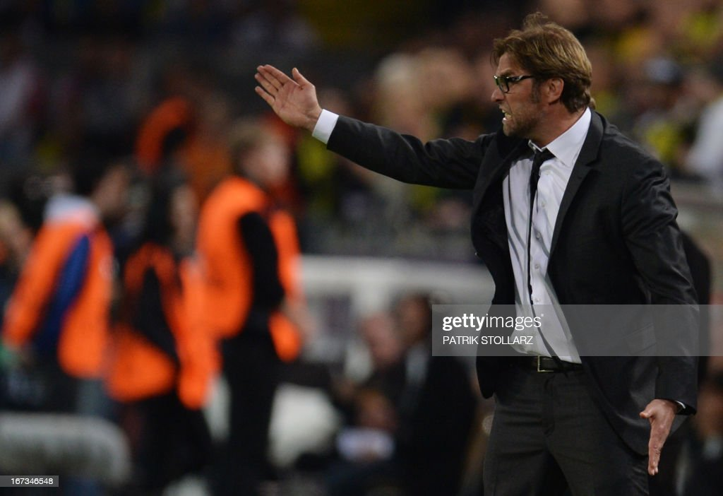 Dortmund's head coach Juergen Klopp reacts during the UEFA Champions League semi final first leg football match Borussia Dortmund vs Real Madrid on April 24, 2013 in Dortmund, western Germany. Dortmund won the match 4-1.