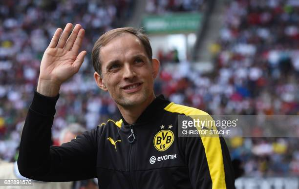 Dortmund's head coach Thomas Tuchel is pictured prior to the German first division Bundesliga football match between FC Augsburg and Borussia...