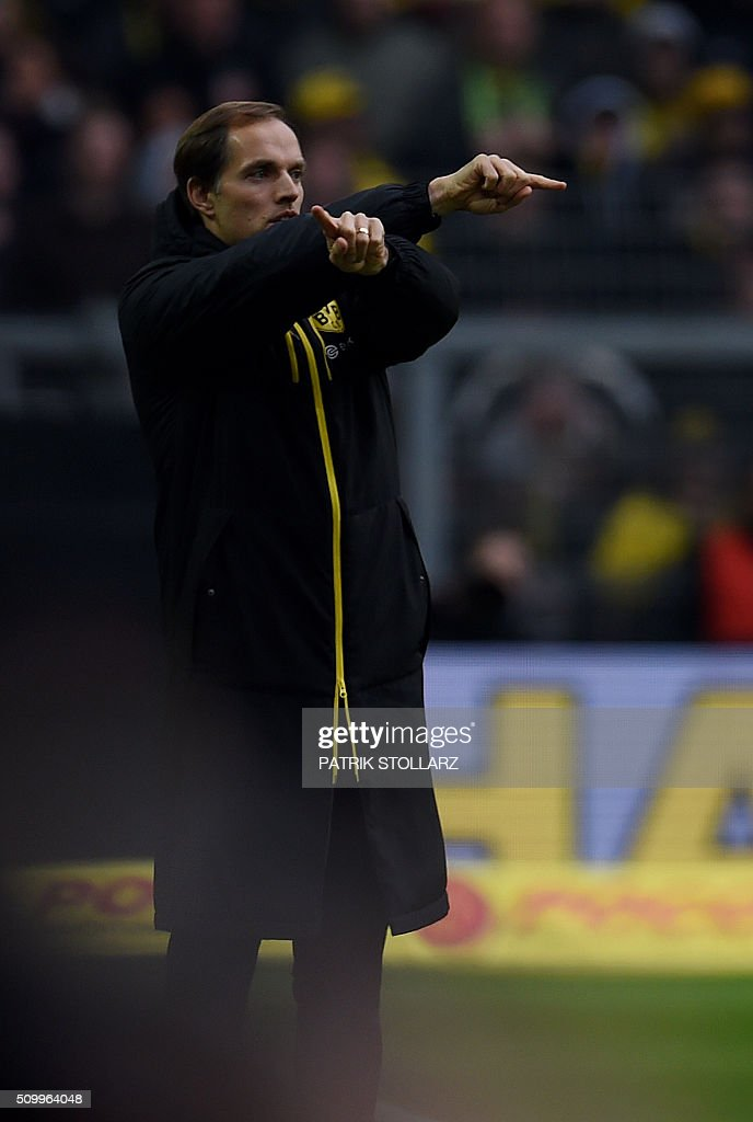 Dortmund's head coach Thomas Tuchel reacts during the German first division Bundesliga football match Borussia Dortmund vs Hanover 96 in Dortmund, western Germany, February 13, 2016.
