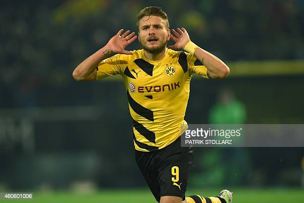 Dortmund's Italian striker Ciro Immobile celebrates during the German First division Bundesliga football match Borussia Dortmund v VfL Wolfsburg in...