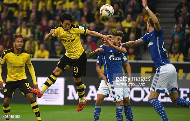 Dortmund's Japanese midfielder Shinji Kagawa jumps during the German first division football Bundesliga match Borussia Dortmund vs FC Schalke 04 on...