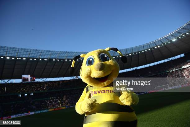 Dortmund's maskot Emma gives thumbs up ahead of the DFB Cup final match between Eintracht Frankfurt and Borussia Dortmund at Olympiastadion on May 27...