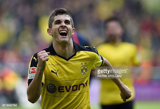 Dortmund's midfielder Christian Pulisic celebrates scoring the 10 goal during the German Bundesliga first division football match BVB Borussia...