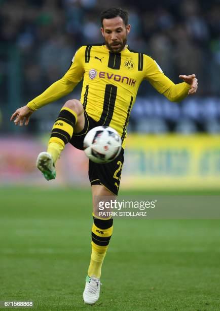Dortmund's midfielder Gonzalo Castro vies for the ball during the German first division Bundesliga football match of Borussia Moenchengladbach vs...